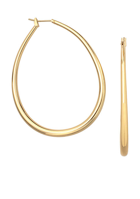 24kt Over Fine Silver-Plated 35-mm. Oval Graduated Hoop Earrings