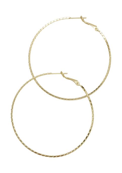 Belk Silverworks Diamond-Cut Gold-Tone Hinge Post Hoop Earrings