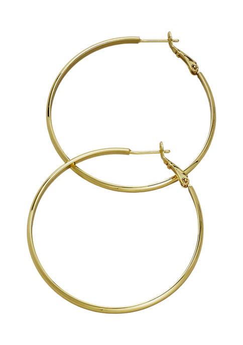 Belk Silverworks 50 Millimeter Gold Tone Hoop Earrings