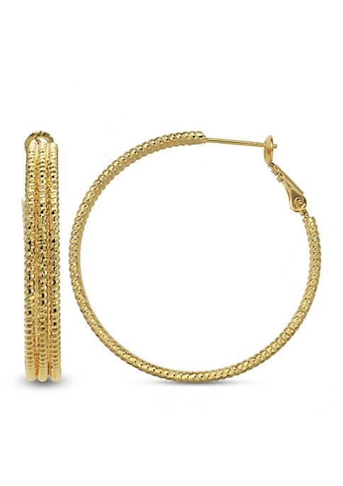 24k Gold Over Fine Silver-Plated 30-mm. Triple Row Hoop Earrings