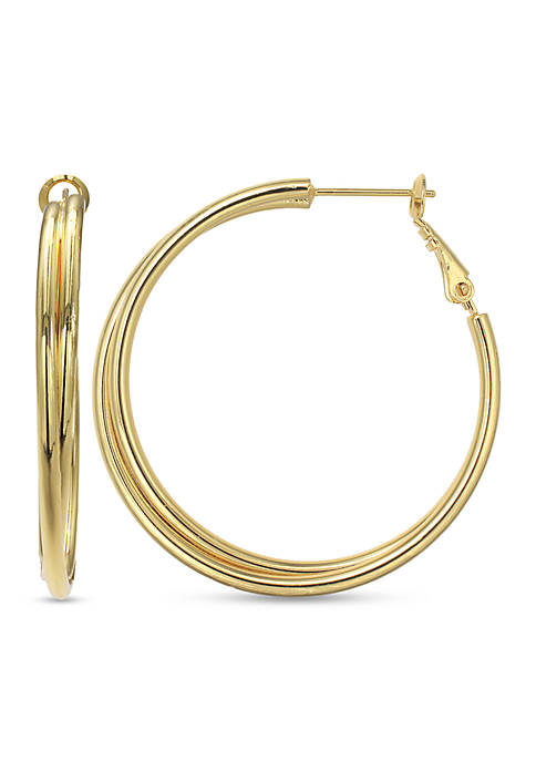 Belk Silverworks 24k Over Fine Silver-Plated 30-mm. Hoop