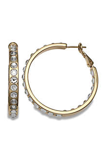 Gold Plated Swarovski Crystal In Out Hoop Earrings with Paddle Back