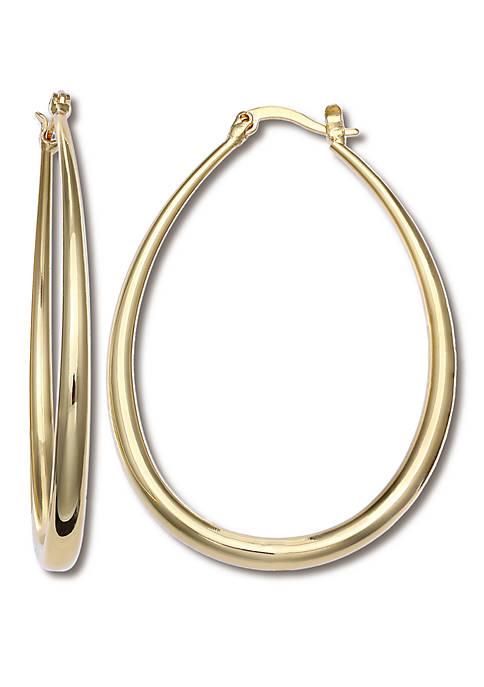 Belk Silverworks Gold Plated Graduated Oval Hoop Click
