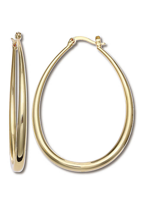 Gold Plated Polished Graduated Oval Hoop Earrings
