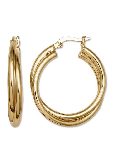 Belk Silverworks Gold Tone Overlapped Double Hoop Earrings