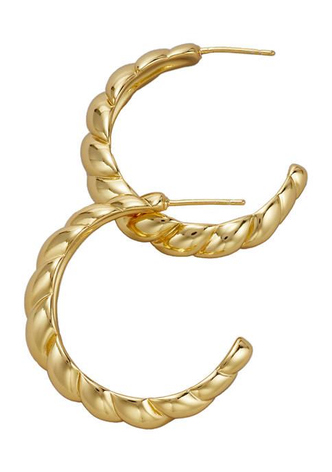 Belk Silverworks Gold Tone Twisted Hoop Earrings
