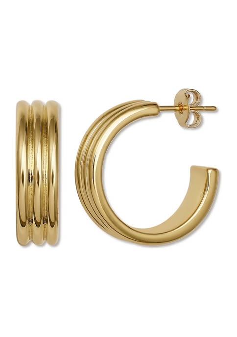 Belk Silverworks Gold Tone Triple C Hoop Earrings