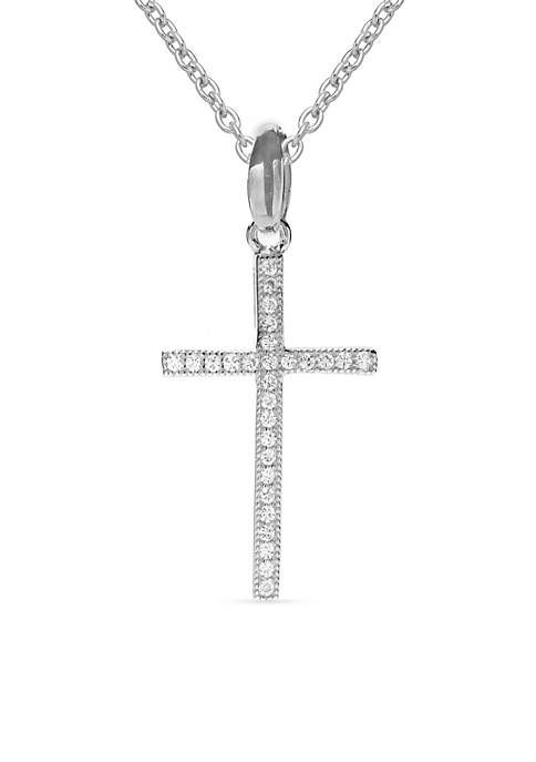 Simply Sterling Pave Cubic Zirconia Cross Pendant Necklace