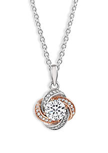 Love Knot Round Cubic Zirconia Center Pendant Necklace