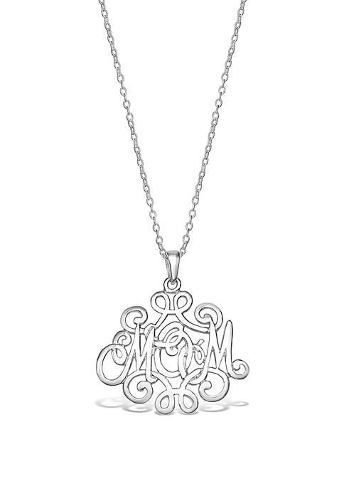 Belk Silverworks Sterling Silver Polished Mom Monogram Pendant