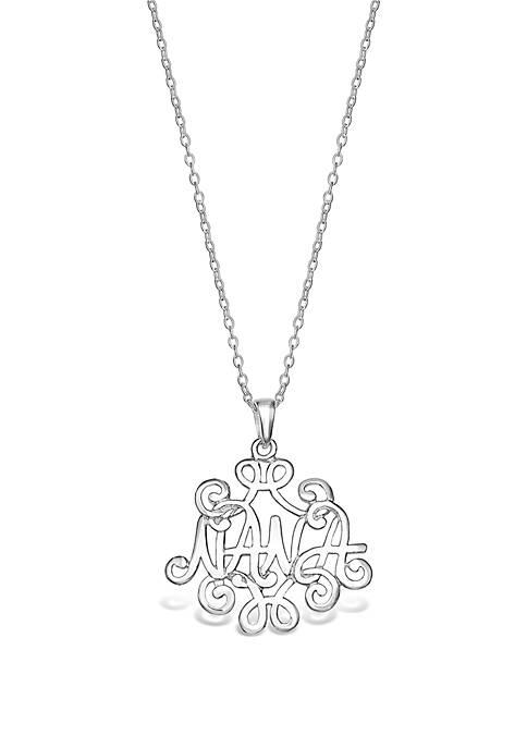 Sterling Silver Polished Nana Monogram Pendant Necklace
