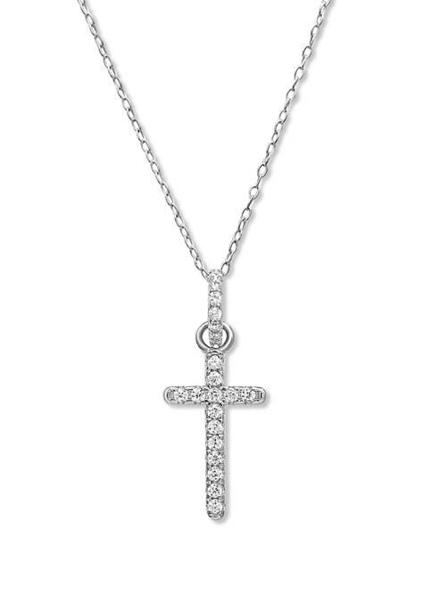 1/10 ct. t.w. Cubic Zirconia Cross Charm Necklace