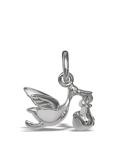Southern Charm Sterling Silver Polished Stork Baby Charm