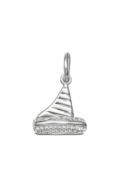 Southern Charm Sterling Silver Polished Pave Cubic Zirconia Sailboat Charm