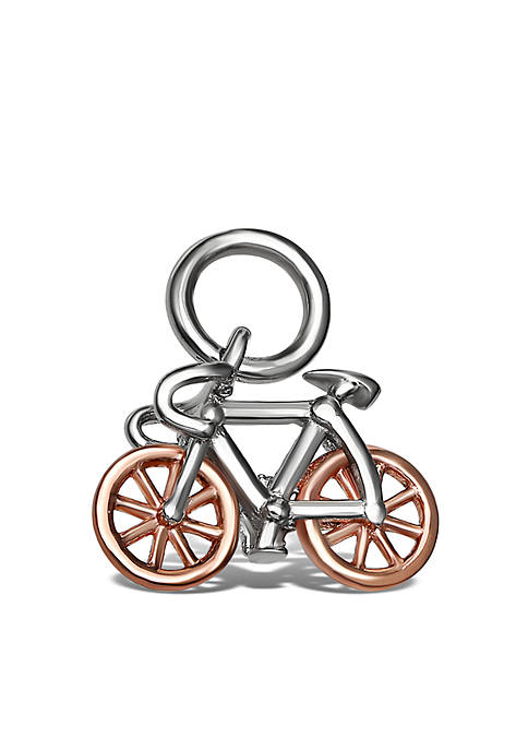 Southern Charm Sterling Silver Two-Tone Rose Pave Cubic Zirconia Bike Charm