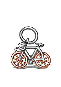 Belk Silverworks Southern Charm Sterling Silver Two-Tone Rose Pave Cubic Zirconia Bike Charm