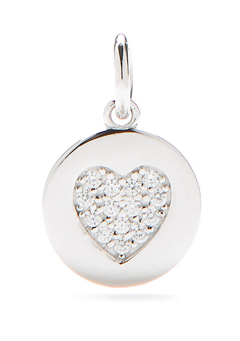 Southern Charm Sterling Silver Disc Heart Pave Charm