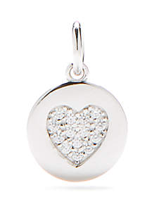 Belk Silverworks Southern Charm Sterling Silver Disc Heart Pave Charm