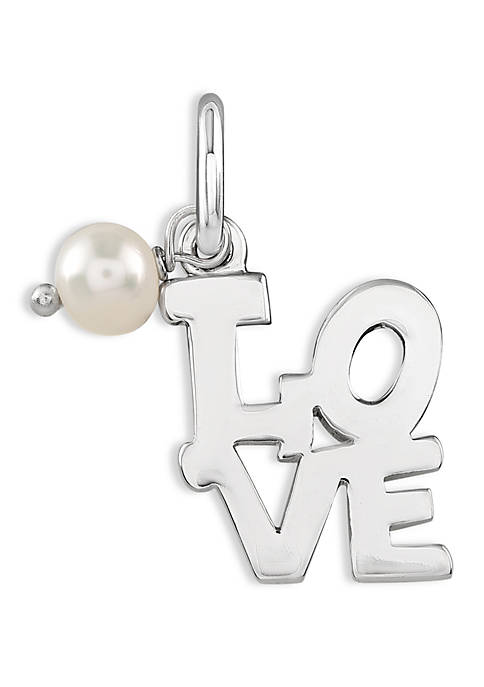 Southern Charm Silver-Tone Love with Pearl Charm