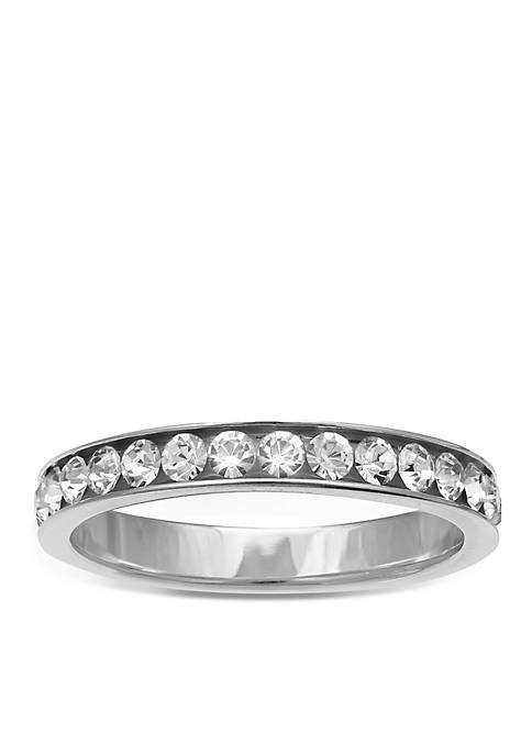 Belk Silverworks Simply Sterling Channel Cubic Zirconia Band-Size