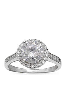Simply Sterling Round Pave Cubic Zirconia Ring-Size 8