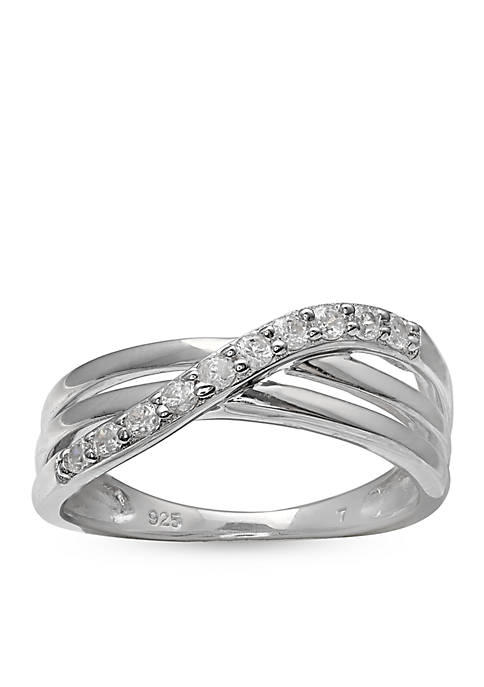 Simply Sterling Pave Cubic Zirconia Polished Crossover Band-Size 7
