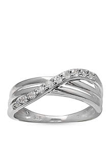 Simply Sterling Pave Cubic Zirconia Polished Crossover Band-Size 8