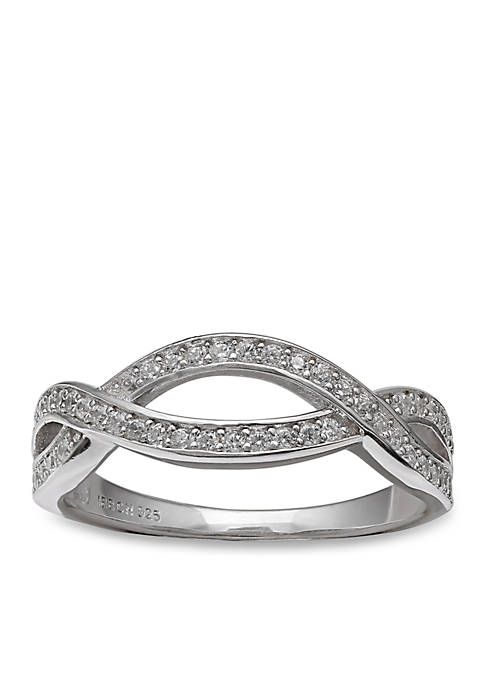 Simply Sterling Pave Cubic Zirconia Cross Over Ring