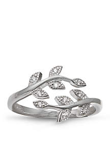 Sterling Silver Pave Cubic Zirconia Vine Bypass Ring