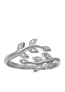 Belk Silverworks Sterling Silver Pave Cubic Zirconia Vine Bypass Ring