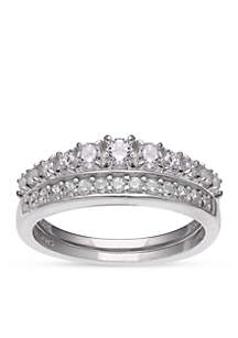 Simply Sterling Silver Cubic Zirconia Wedding Band Set