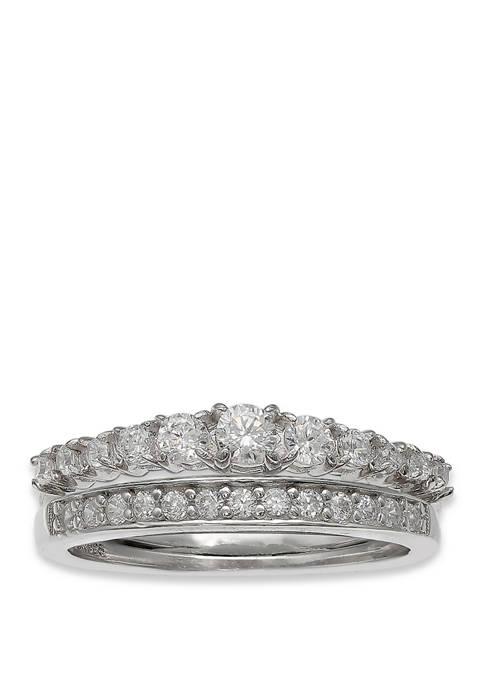 Belk Silverworks Silver Tone Cubic Zirconia Wedding Ring