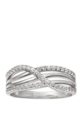 Belk Silverworks Sterling Silver Polished Cubic Zirconia Ring White hKp7n
