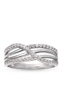 Simply Sterling Silver Multiple Crossover Pave Cubic Zirconia - Ring 9
