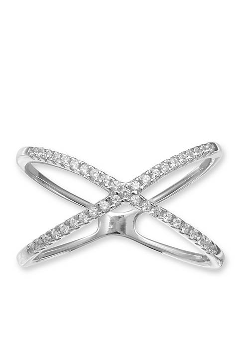 Simply Sterling Silver Cubic Zirconia X Ring