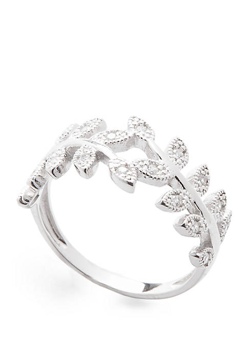 Sterling Silver Polished Pave Cubic Zirconia Band Ring