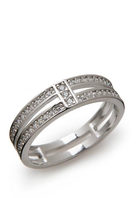 Sterling Silver Pave Cubic Zirconia Faux Stackable Ring