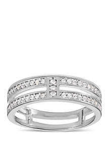 Belk Silverworks Sterling Silver Polished Pave Cubic Zirconia Double Faux Stackable Band