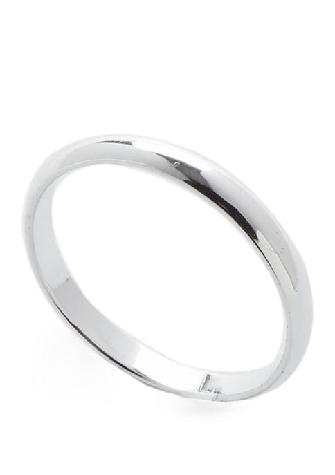 Sterling Silver Polished Half Rounded Band Ring