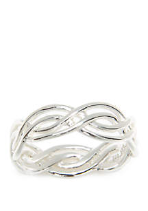 Polished Braided Sterling Silver Ring