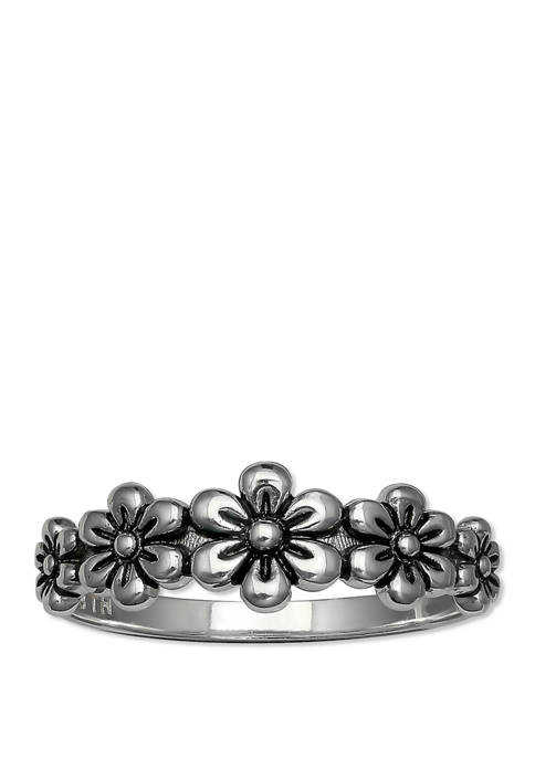 Oxidized Flower Band Ring