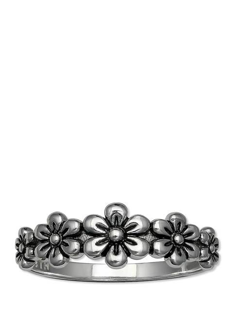 Belk Silverworks Oxidized Flower Band Ring