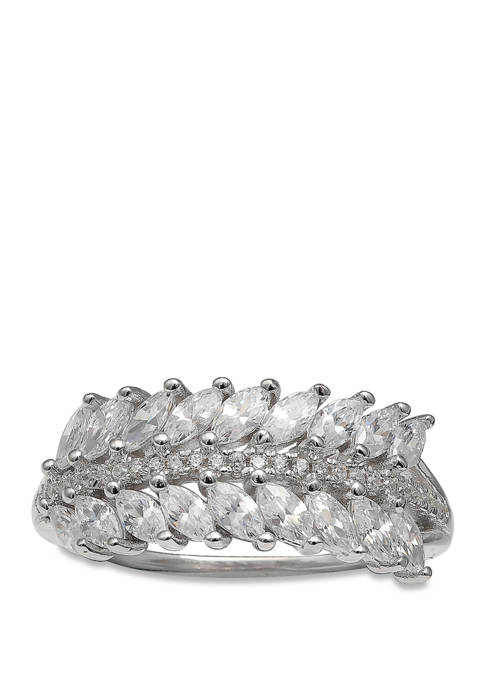 Sterling Silver Leaf Marquise Ring