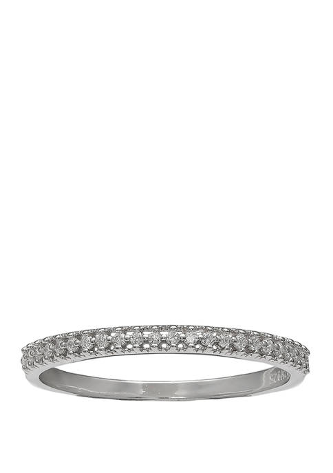 Pave Cubic Zirconia Ring on Polished Sterling Silver Band