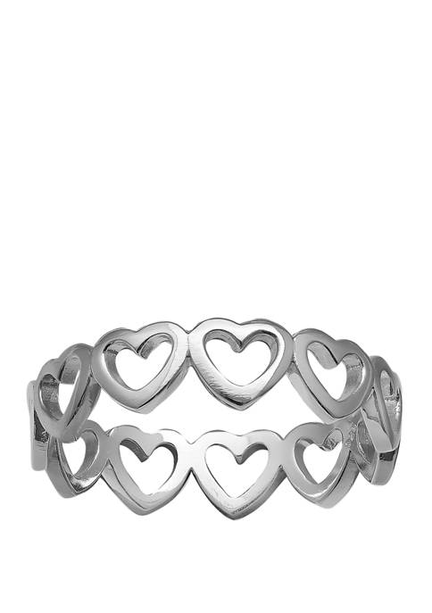 Belk Silverworks Polished Multi Hearts Ring in Sterling