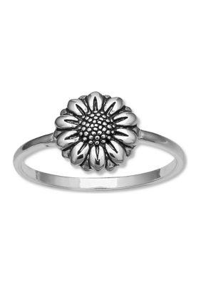 Belk Silverworks Women Oxidized Flower Sterling Silver Ring
