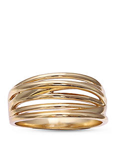 Belk Silverworks Gold-Tone Brass Plated Crossover Ring