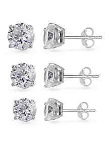Simply Sterling Silver Trio Cubic Zirconia Stud Earring Set