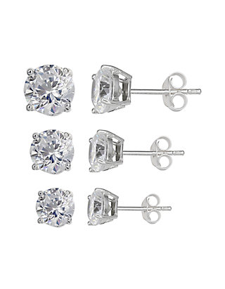b90dd498c Belk Silverworks. Belk Silverworks Set of 3 Graduated Size Round Cubic  Zirconia Stud Earrings