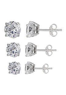Set of 3 Graduated Size Round Cubic Zirconia Stud Earrings